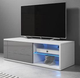 TV-Lowboard Top-B in Hochglanz grau und weiß TV-Unterteil 100 x 36 cm inkl. LED Beleuchtung Fernsehtisch