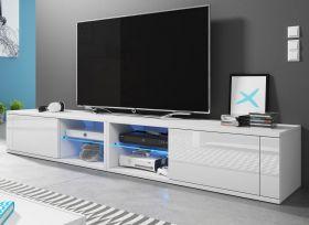 TV-Lowboard Top-B in Hochglanz weiß TV-Unterteil 200 x 36 cm inkl. LED Beleuchtung Fernsehtisch