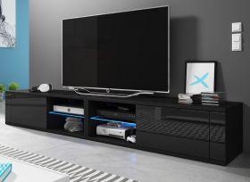 TV-Lowboard Top-B in Hochglanz schwarz TV-Unterteil 200 x 36 cm inkl. LED Beleuchtung Fernsehtisch