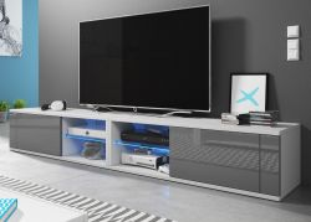 TV-Lowboard Top-B in Hochglanz grau und weiß TV-Unterteil 200 x 36 cm inkl. LED Beleuchtung Fernsehtisch