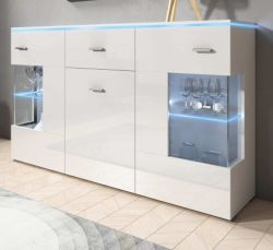 Sideboard Charme in Hochglanz weiß Anrichte inkl. LED Beleuchtung in blau 150 x 91 cm Kommode