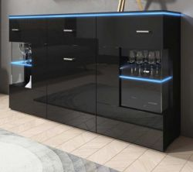 Sideboard Charme in Hochglanz schwarz Anrichte inkl. LED Beleuchtung in blau 150 x 91 cm Kommode