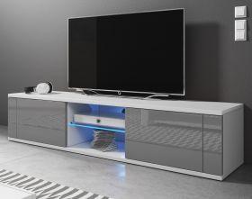 TV-Lowboard Chart in Hochglanz grau und weiß TV-Unterteil 140 x 30 cm Fernsehtisch