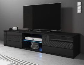 TV-Lowboard Chart in Hochglanz schwarz TV-Unterteil 140 x 30 cm Fernsehtisch