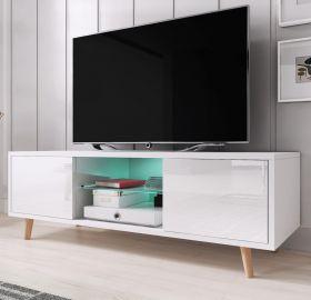 TV-Lowboard Norway-1 in Hochglanz weiß TV-Unterteil skandinavisch 140 x 45 cm Fernsehtisch