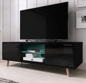TV-Lowboard Norway-1 in Hochglanz schwarz TV-Unterteil skandinavisch 140 x 45 cm Fernsehtisch