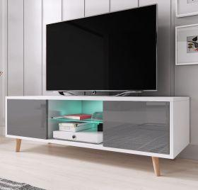 TV-Lowboard Norway-1 in Hochglanz grau und weiß TV-Unterteil skandinavisch 140 x 45 cm Fernsehtisch