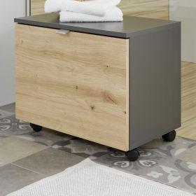 Badezimmer Sitzcontainer One in grau matt Lack und Eiche / Asteiche Badmöbel Hocker auf Rollen 55 x 47 cm