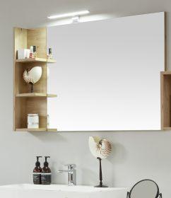 Badezimmer Spiegel One in Eiche / Asteiche Badmöbel 104 x 68 cm Wandspiegel mit Ablage