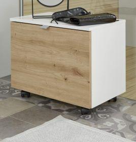 Badezimmer Sitzcontainer One in Hochglanz weiß Lack und Eiche / Asteiche Badmöbel Hocker auf Rollen 55 x 47 cm