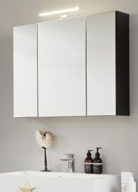 Badezimmer Spiegelschrank One in grau matt Lack 3-türig 84 x 68 cm Badmöbel