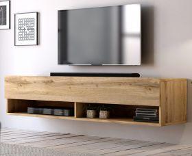 TV-Lowboard Epsom in Wotan Eiche TV-Unterteil hängend 140 x 30 cm Fernsehschrank