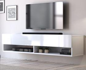 TV-Lowboard Epsom in Hochglanz weiß TV-Unterteil hängend 140 x 30 cm Fernsehschrank