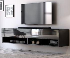 TV-Lowboard Epsom in Hochglanz schwarz TV-Unterteil hängend 140 x 30 cm Fernsehschrank