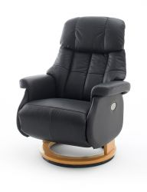Relaxsessel Calgary XL in schwarz Leder und Natur elektrisch verstellbar Funktionssessel bis 150 kg Fernsehsessel 82 x 111 cm