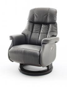 Relaxsessel Calgary XL in schlamm grau Leder und schwarz elektrisch verstellbar Funktionssessel bis 150 kg Fernsehsessel 82 x 111 cm