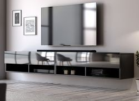 TV-Lowboard Epsom in Hochglanz schwarz TV-Unterteil hängend 200 x 30 cm Fernsehschrank XL