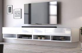 TV-Lowboard Epsom in Hochglanz weiß TV-Unterteil hängend 280 x 30 cm Fernsehschrank XXL