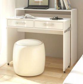 Schreibtisch Lage in Hochglanz weiß Laptoptisch ausziehbar 100 x 39 / 73 cm Computertisch Sekretär