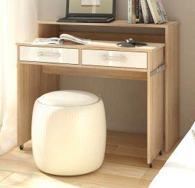 Schreibtisch Lage in Hochglanz weiß und Sonoma Eiche Laptoptisch ausziehbar 100 x 39 / 73 cm Computertisch Sekretär