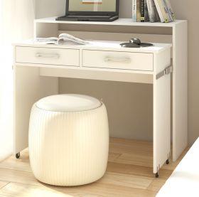 Schreibtisch Lage in weiß Laptoptisch ausziehbar 100 x 39 / 73 cm Computertisch Sekretär