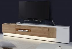 TV-Loboard Ventus weiß matt Lack und Eiche Bianco massiv TV-Unterteil XXL 256 x 59 cm - Sofort lieferbar -