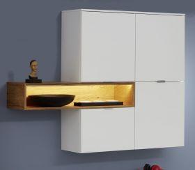 Hängeschrank Enzo weiß matt Lack und Asteiche / Eiche Echtholz Wohnzimmer Vitrinenschrank hängend 160 x 126 cm