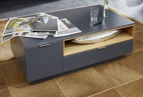 Couchtisch Enzo grau matt Lack und Asteiche / Eiche Echtholz Wohnzimmertisch mit Ablage 110 x 65 cm