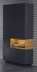 Vitrinenschrank Enzo grau matt Lack und Asteiche / Eiche Echtholz Wohnzimmer Esszimmer Vitrine 86 x 203 cm