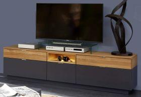 TV-Lowboard Enzo grau matt Lack und Asteiche / Eiche Echtholz TV-Unterteil in Komforthöhe 208 x 58 cm