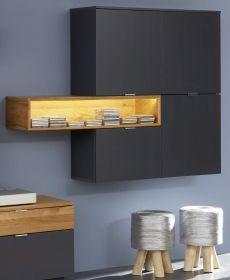 Hängeschrank Enzo grau matt Lack und Asteiche / Eiche Echtholz Wohnzimmer Vitrinenschrank hängend 160 x 126 cm