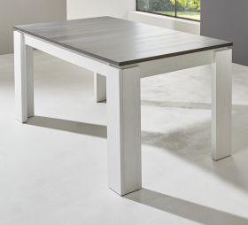 Esstisch in Anderson Pinie weiß und Touchwood braun Küchentisch ausziehbar mit Einlegeplatte 160 - 200 x 90 cm Holztisch