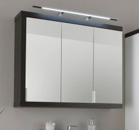 Spiegelschrank Sunrise weiß Sardegna Rauchsilber grau 3-türig 90 cm