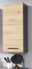 Badezimmer Hängeschrank Line in Wildeiche / Eiche und grau Badschrank 30 x 77 cm