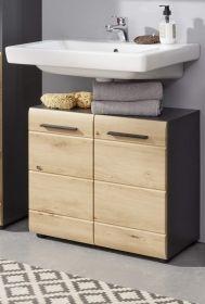 Badezimmer Waschbeckenunterschrank Line in Wildeiche / Eiche und grau Badmöbel Waschtisch 60 x 57 cm