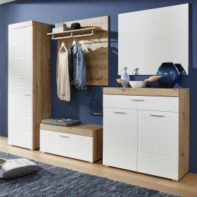 Garderobenset 5-teilig Amanda in Hochglanz weiß und Eiche Asteiche Flur Garderobenkombination 257 x 195 cm