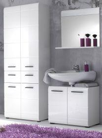 Badmöbel Set Skin 3-teilig weiß Hochglanz 145 x 182 cm mit Hochschrank, Spiegel und Waschbeckenunterschrank