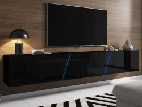 TV Lowboard Space in schwarz Hochglanz Lack TV Unterteil hängend / stehend XXL-Board 240 cm mit LED