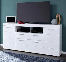 TV-Lowboard Amanda in Hochglanz weiß TV in Komforthöhe 180 x 88 cm Fernsehtisch