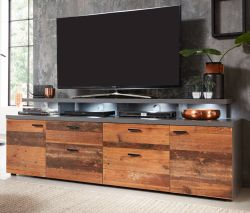 TV-Lowboard Mood in Old Used Wood Design mit Matera grau Fernsehtisch Shabby 180 x 66 cm TV in Komforthöhe