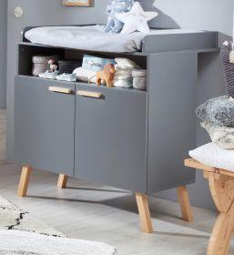 Babyzimmer Wickelkommode Mats in grau matt mit Buche massiv Babymöbel Wickeltisch 96 x 105 cm
