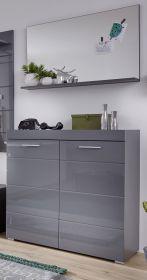 Garderobe Set 2-teilig Amanda in Hochglanz grau Flur Garderobenkombination mit Schuhkommode und Spiegel