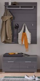 Garderobe Set 2-teilig Amanda in Hochglanz grau Flur Garderobenkombination mit Paneel und Sitzbank 91 x 195 cm