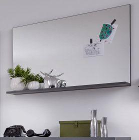 Garderobenspiegel Amanda in grau Wandspiegel mit Ablage 91 x 60 cm