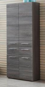 Badmöbel Hochschrank Line in Sardegna grau Rauchsilber Badschrank 60 x 182 cm