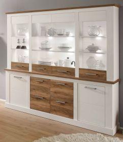 Wohnzimmer: Anrichte Toronto Pinie weiß, Nussbaum Satin Elemente (210x210 cm)