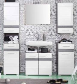 Badkombination SetOne in Hochglanz weiß und Sardegna grau Rauchsilber Badmöbel Set 5-teilig 159 x 182 cm