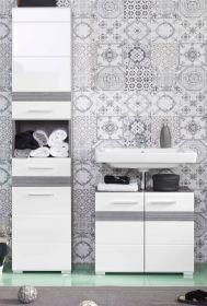 Badkombination SetOne in Hochglanz weiß und Sardegna grau Rauchsilber Badmöbel Set 2-teilig 110 x 182 cm