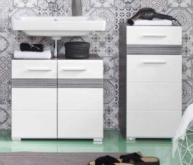 Badkombination SetOne in Hochglanz weiß und Sardegna grau Rauchsilber Badmöbel Set 2-teilig 110 x 80 cm
