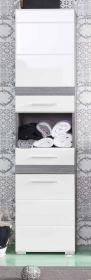 Badmöbel Hochschrank SetOne in Hochglanz weiß und Sardegna grau Rauchsilber Badschrank 37 x 182 cm